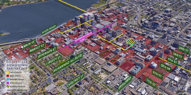 Map of street closures for Veterans Day Parade