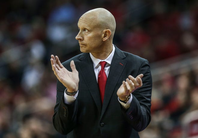 Coach Chris Mack from the sideline in Louisville's 2018-19 opening game against Nicholls State University at the KFC Yum! Center Nov. 8, 2018.