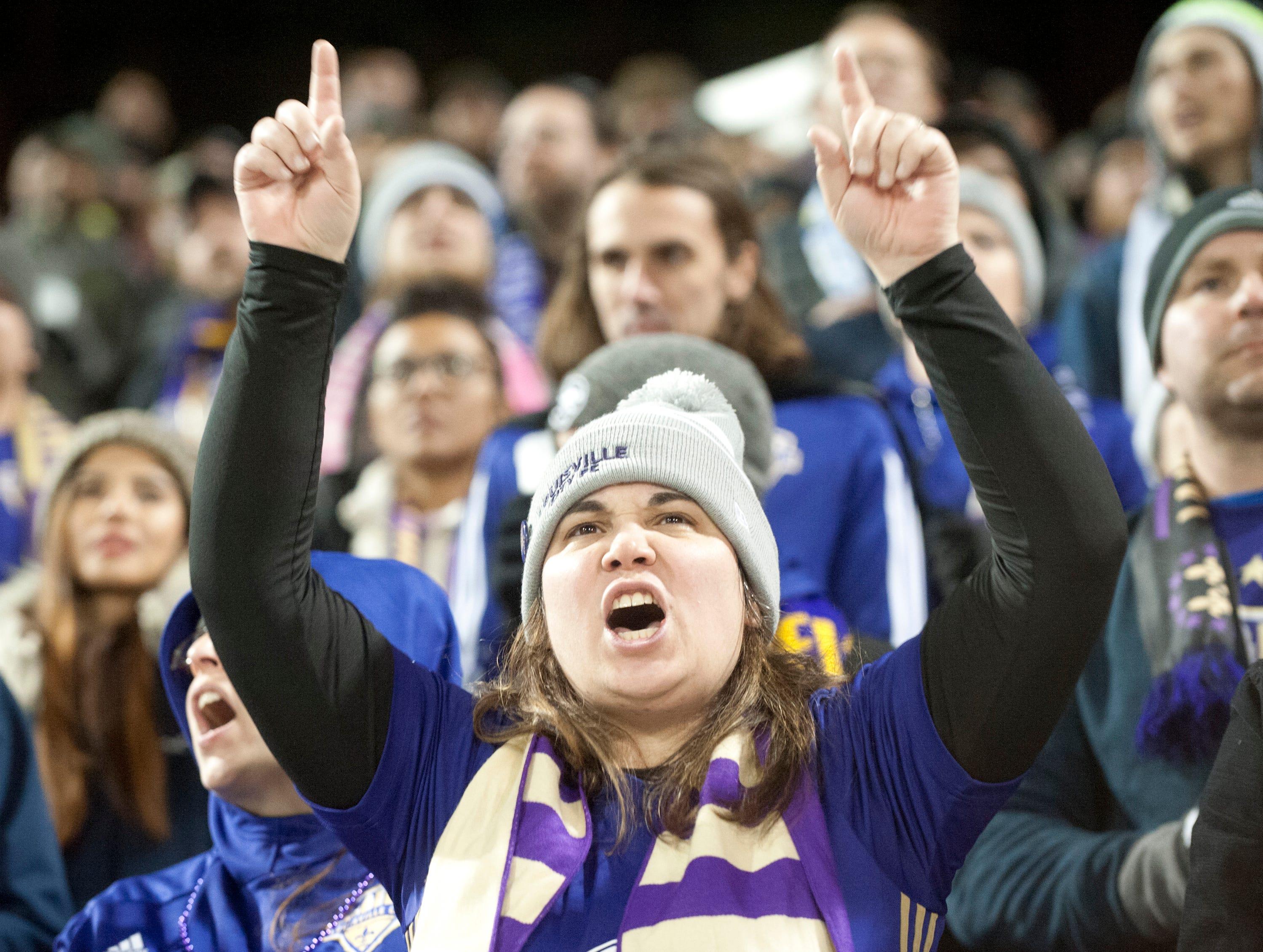 Louisville Cooper Fan Club member Katie Harper of Okolona roots for her Louisville City FC in the 2018 USL Cup.November 08, 2018