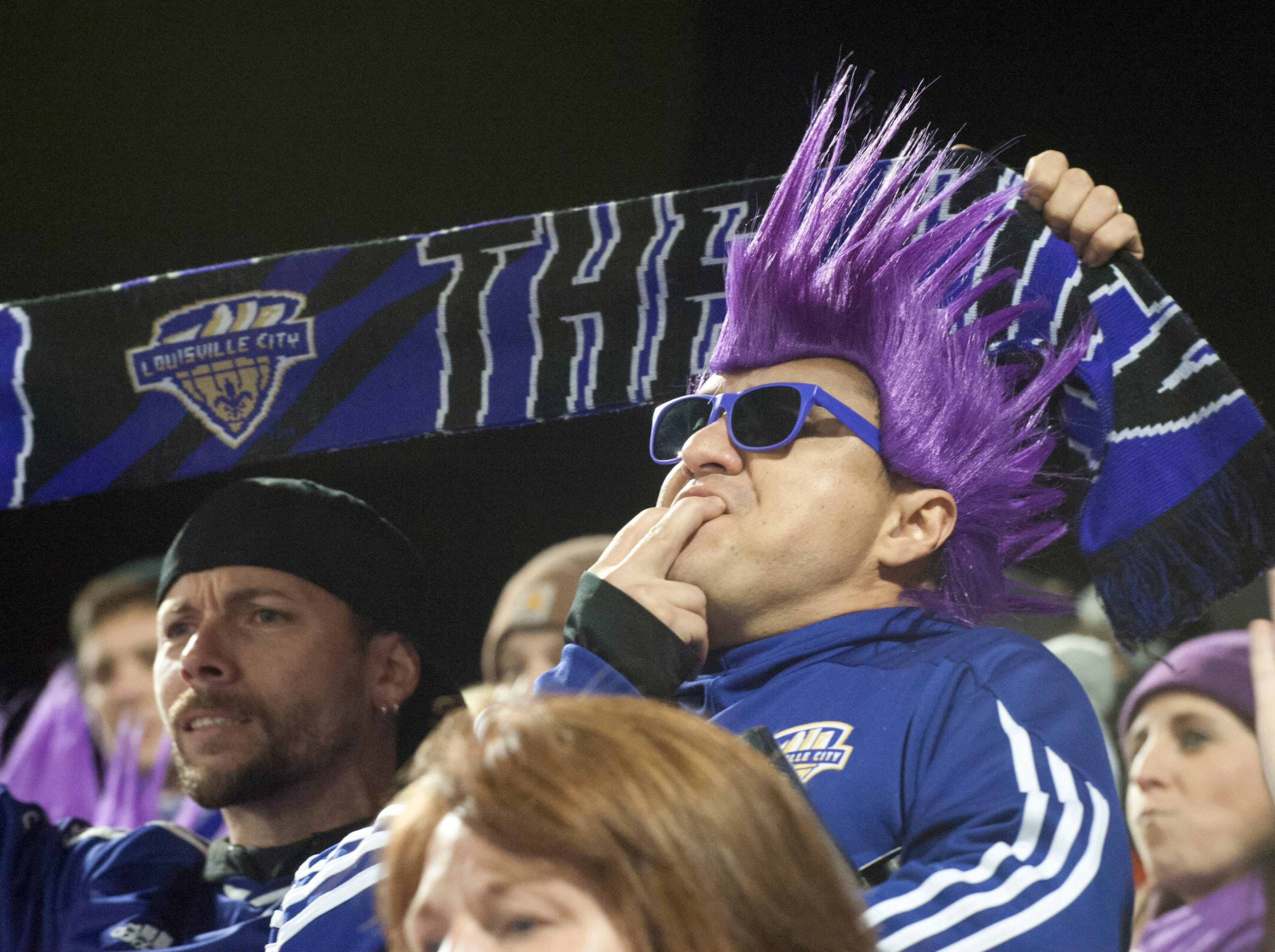 Jorge Pazmino of Bullitt Co., Ky., whistles his support for the home team as Louisville City FC takes on the Phoenix Rising FC for the 2018 USL Cup.November 08, 2018