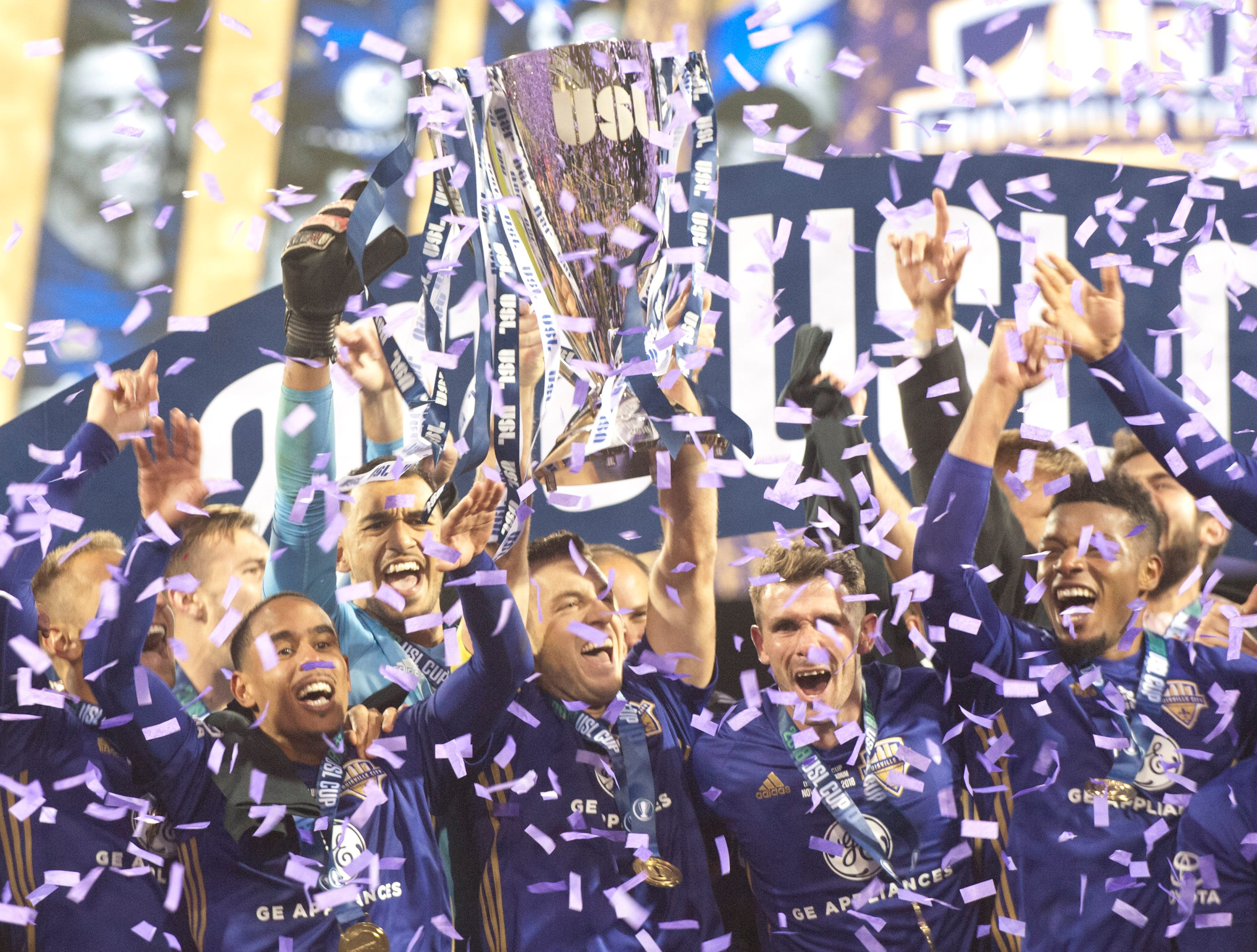 Louisville City FC celebrates its back to back USL Cup defeating Phoenix Rising FC, 1-0.November 08, 2018