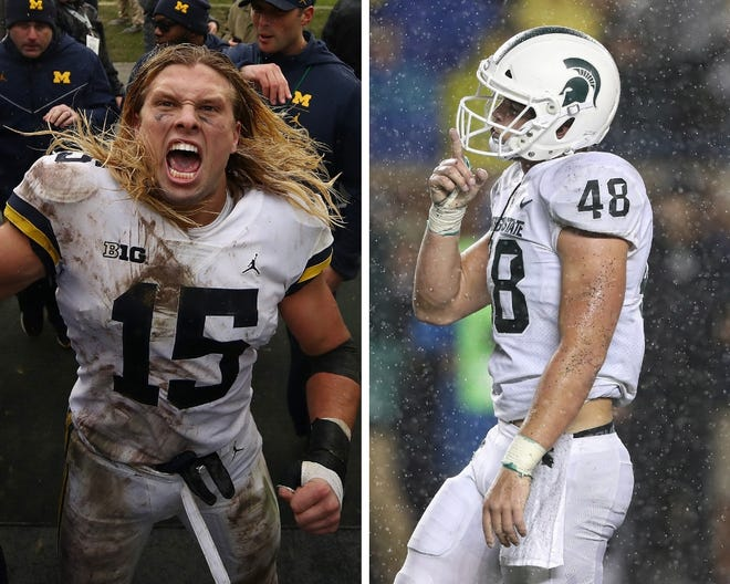 From left: Michigan's Chase Winovich and Michigan State's Kenny Willekes.