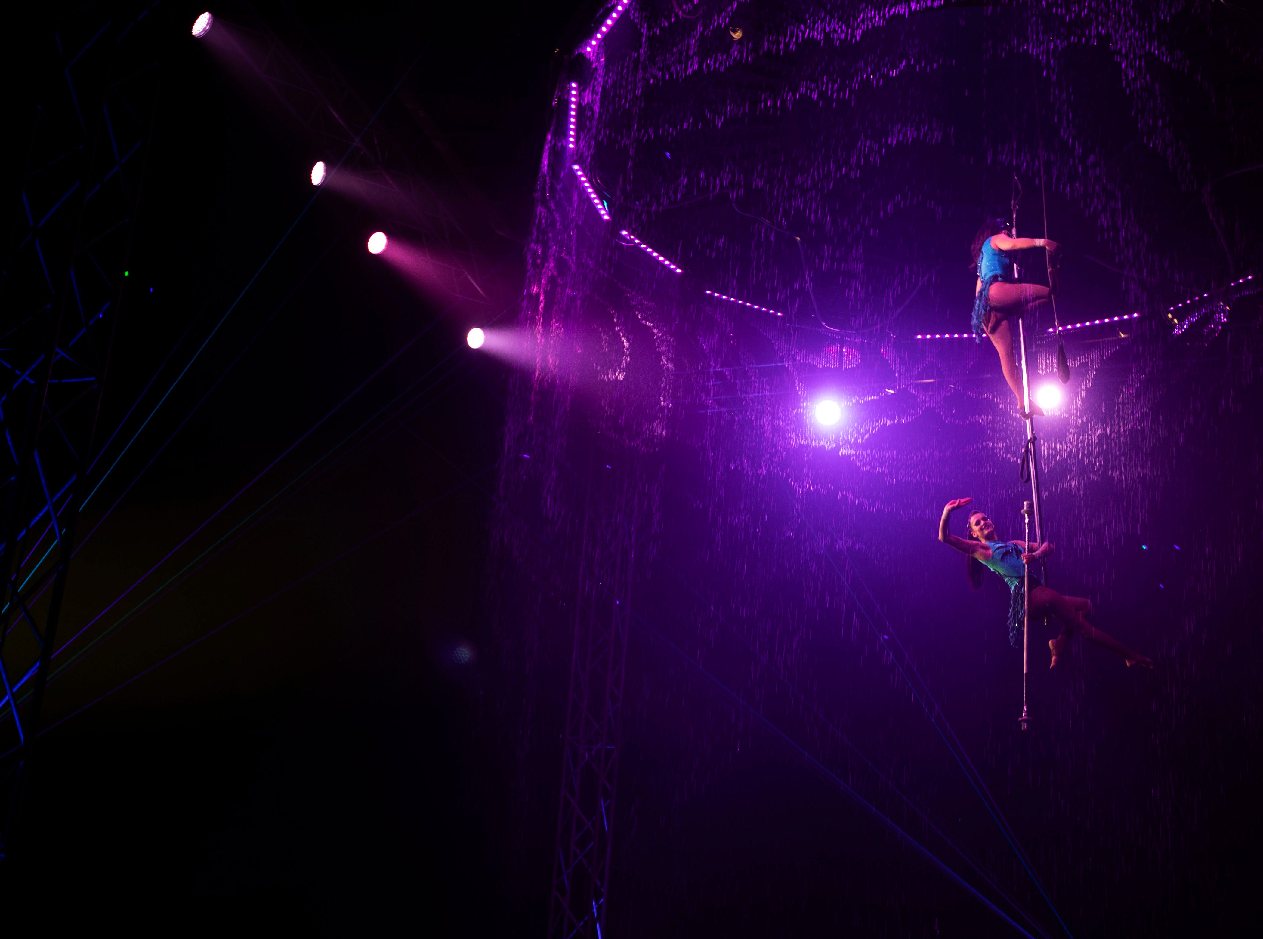 Cirque Italia, a water circus, is in Corvada Tennessee through Sunday Nov., 8, 2018. The circus is held on a stage confined by water fountains from a 35,000 gallon tank.
