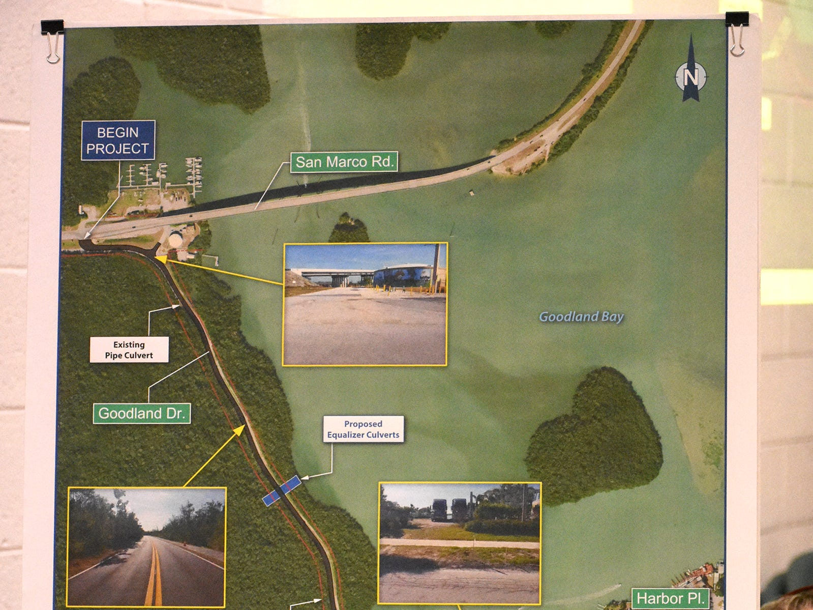 A display lays out the scope of the project. County planners held a public information meeting at the Goodland Community Center on Thursday evening, to go over plans and solicit resident input on the upcoming work to improve Goodland Drive.