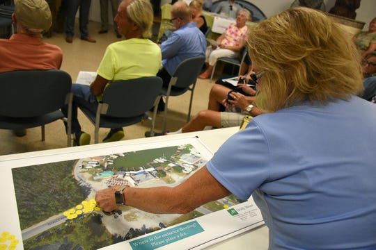 Residents were asked to indicate where they found flooding to be the worst. County planners held a public information meeting at the Goodland Community Center on Thursday evening, to go over plans and solicit resident input on the upcoming work to improve Goodland Drive.