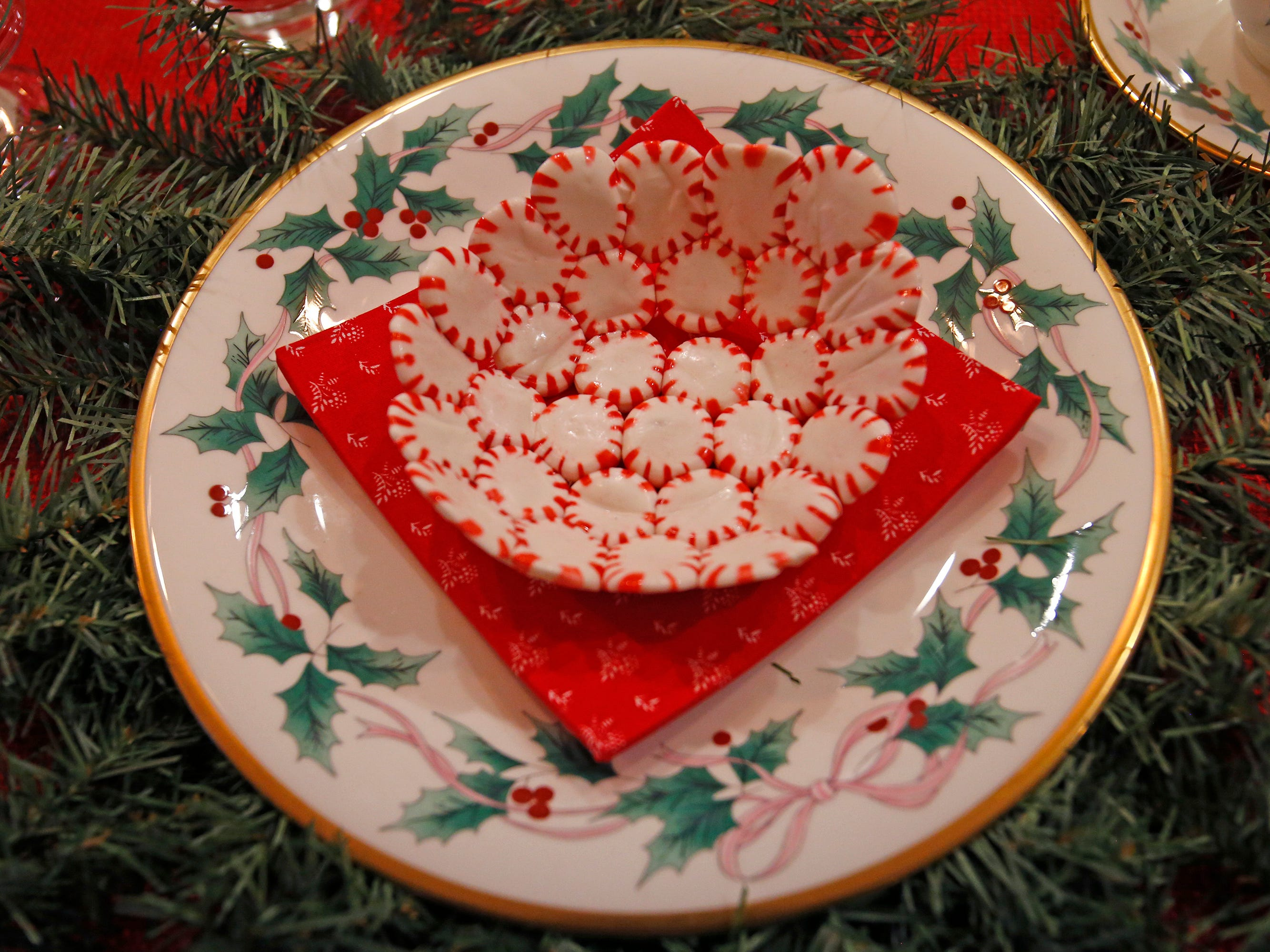 Peppermints pressed and fused into a bowl shape on display at the 26th annual Christmas Fantasy House with 18 rooms decorated by more than 16 area decorators to benefit the Ronald McDonald House Charities Eastern Wisconsin. The Fantasy house will be open 10 a.m. to 8 p.m. on Nov. 9, and 10 a.m. to 6 p.m. on Nov. 10 and 11. Parking and shuttle to the House is at Ridgewood Baptist Church, 2720 Lilly Road, Brookfield. Tickets are $20 at the door.