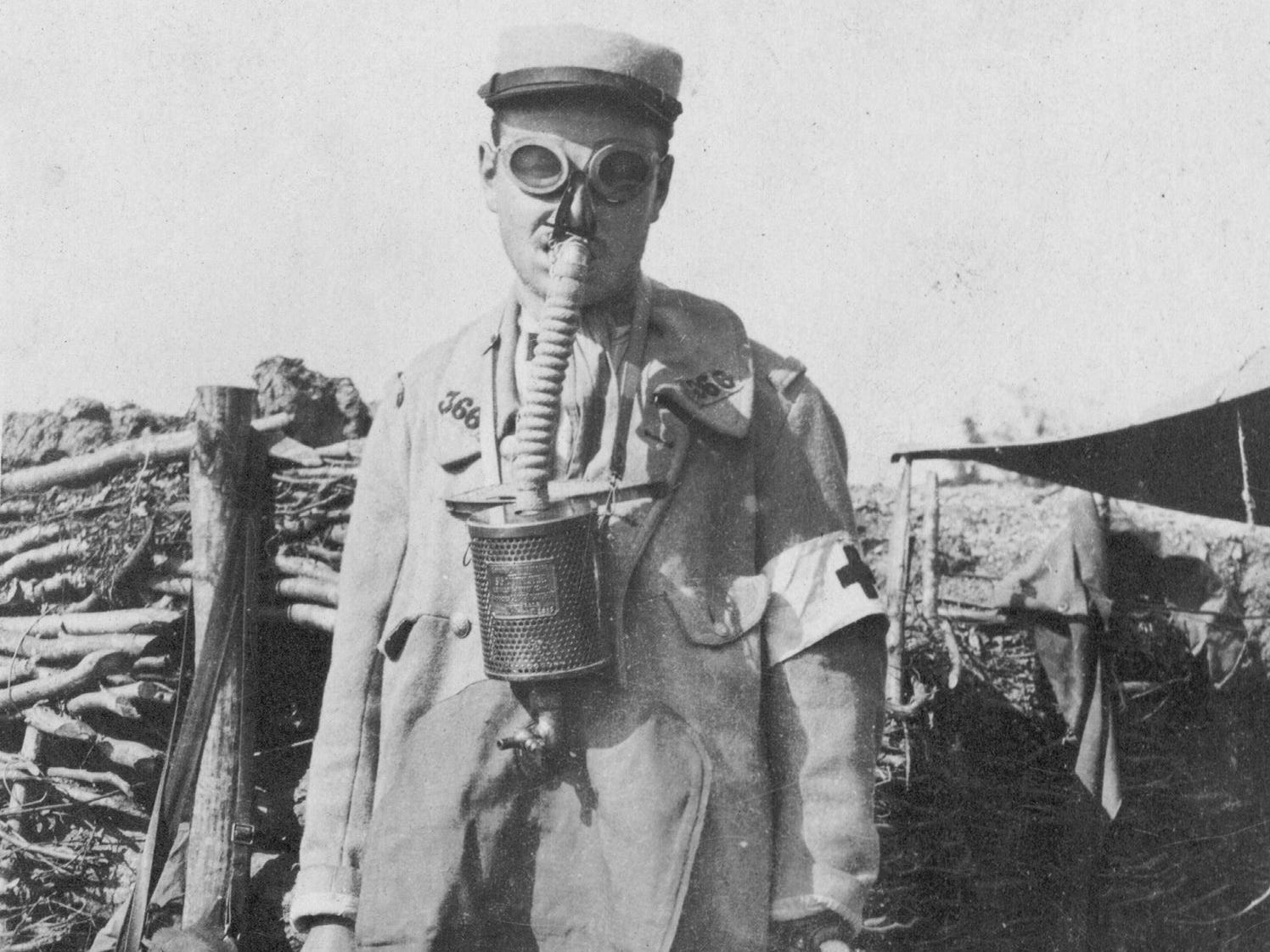 "This file photo taken in 1915 shows a postcard released by the WWI Museum ""Historial de Peronne"" of a French soldier wearing a gas mask."