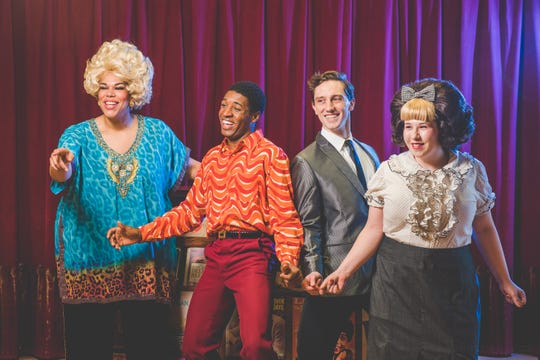 """Stars of Skylight Music Theatre's imminent production of """"Hairspray"""" include Bethany Thomas (left, as Motormouth Maybelle), Gilbert Domally (as Seaweed), Colin Schreier (as Link) and Maisie Rose (as Tracy)."""