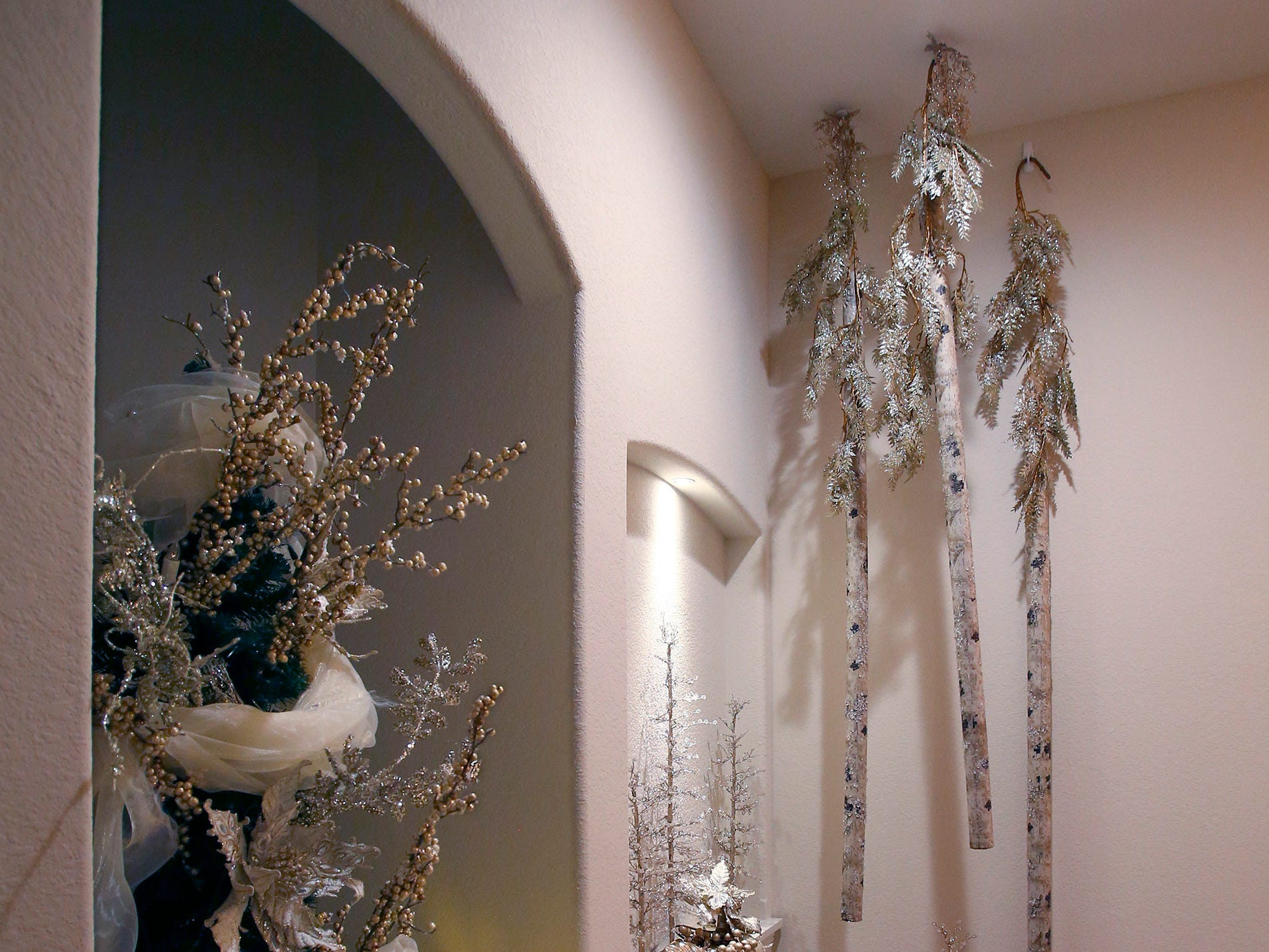 Birch trees hang from the ceiling of a second-floor bathroom in the 26th annual Christmas Fantasy House with 18 rooms decorated by more than 16 area decorators for benefit Ronald McDonald House Charities Eastern Wisconsin. The Fantasy house will be open 10 a.m. to 8 p.m. on Nov. 9, and 10 a.m. to 6 p.m. on Nov. 10 and 11. Parking and shuttle to the House is at Ridgewood Baptist Church, 2720 Lilly Road, Brookfield. Tickets are $20 at the door.