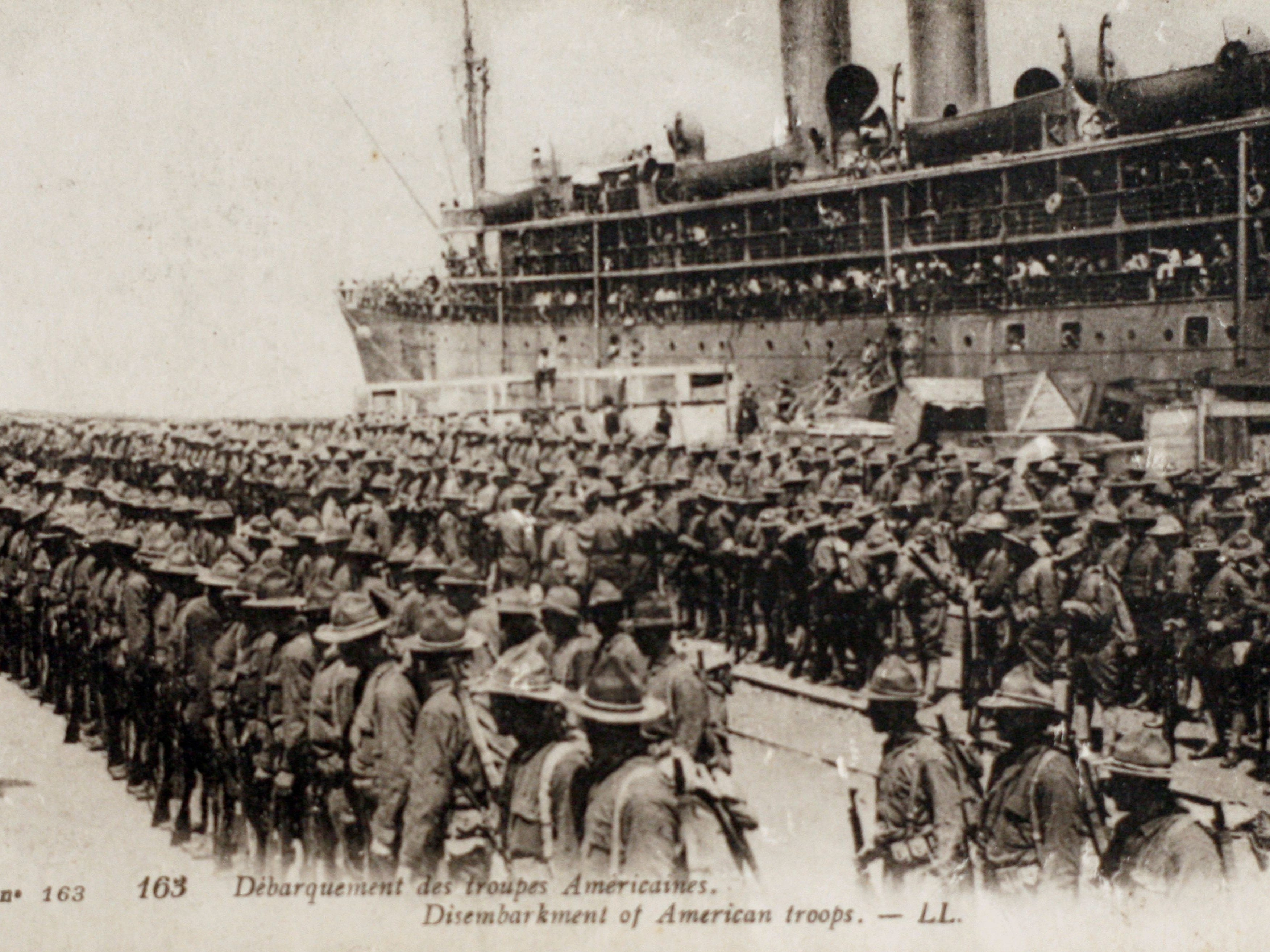A photo released by the Historical Museum of WWI of Peronne and taken  Aug.  31, 1914, shows U.S. troops upon landing in Boulogne-sur-Mer in northern France early in World War I.