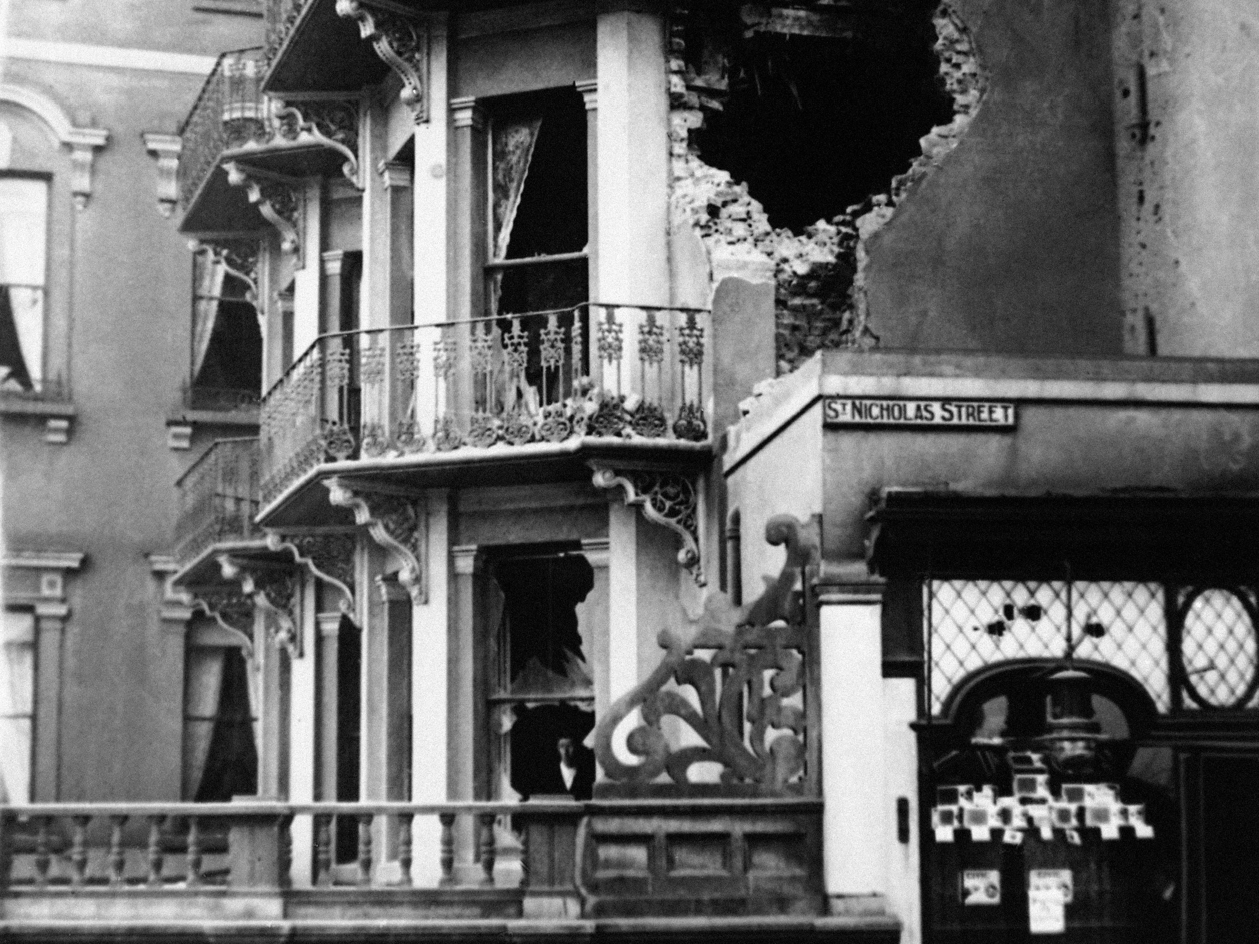 This December 1914  photo shows damage to the Royal Hotel in Scarborough in northern England after a bombing raid.