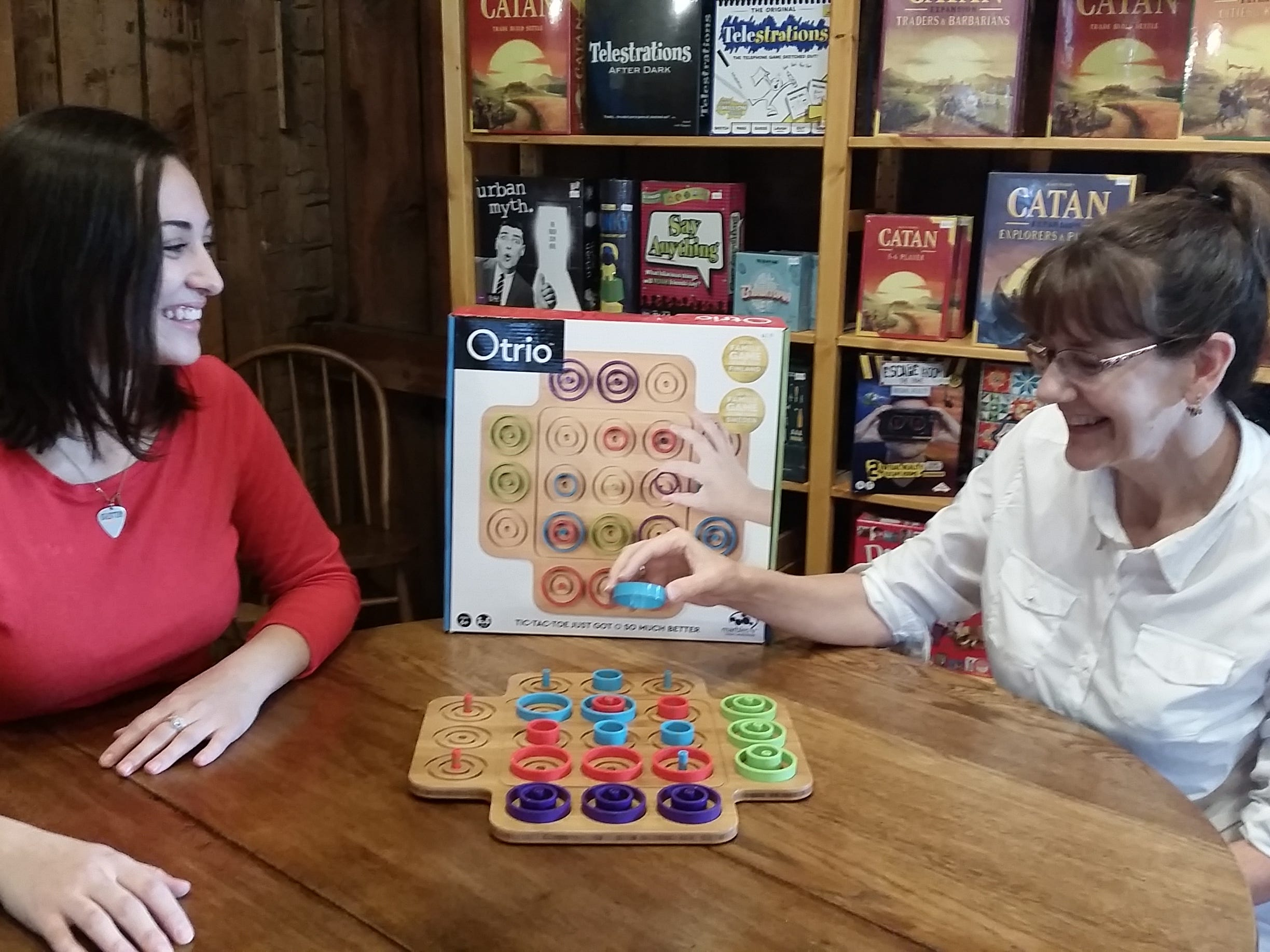 Maria Luther of The Smiley Barn loves Otrio, which she describes as a more strategic version of Tic Tac Toe, which is easy enough for young kids and fun enough for older kids and parents.