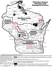 2018 Wisconsin deer hunting management zones.