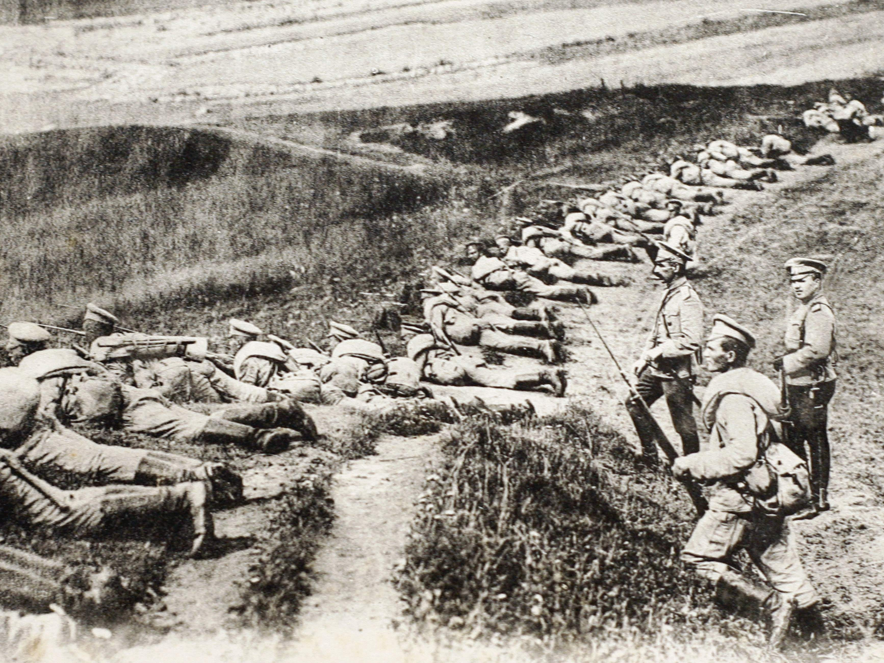 This picture of a postcard released by the Historial de Peronne, Museum of WWI, shows Russian soldiers on the East Prussia front during the WWI.