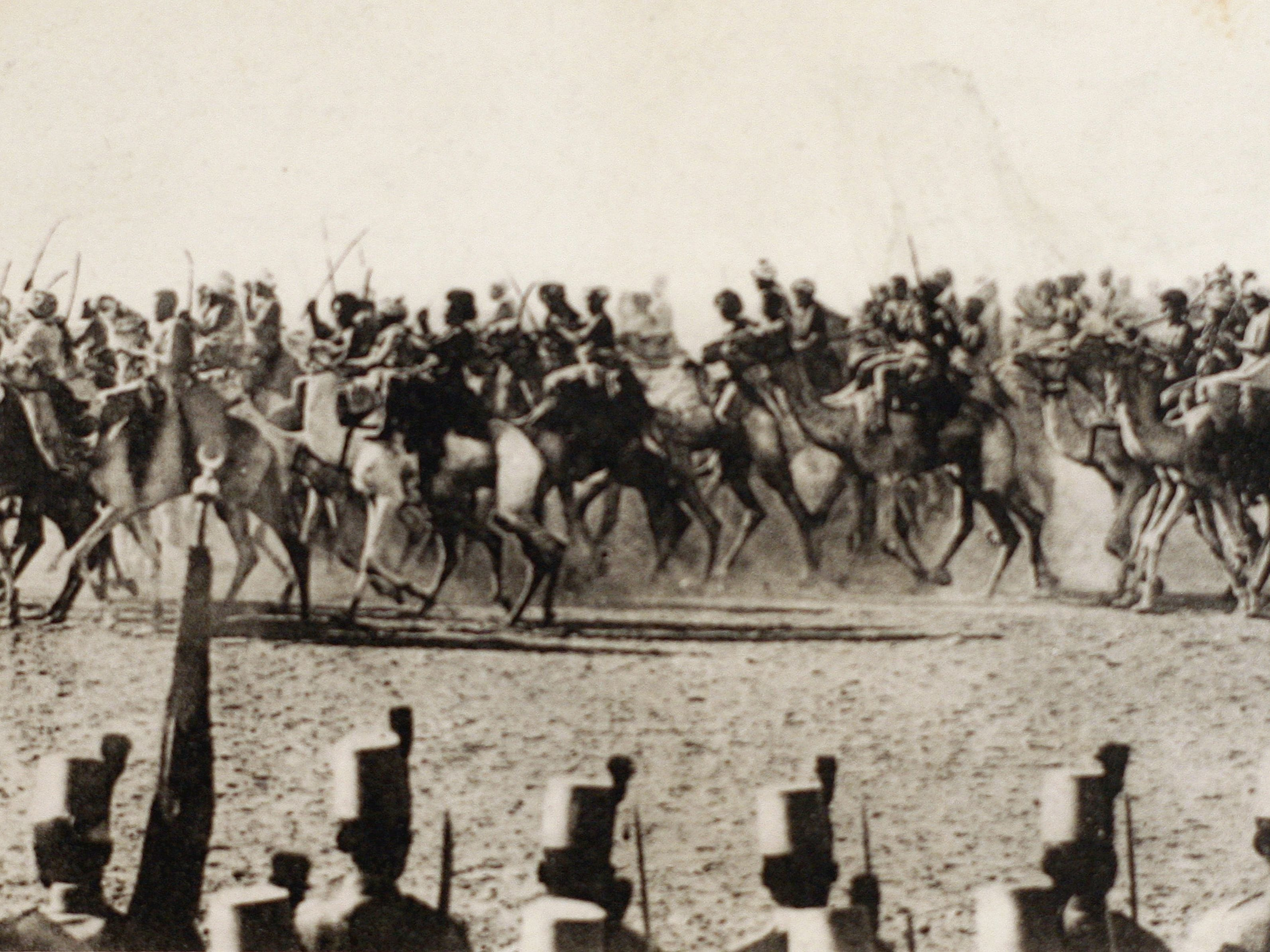 A postcard released by the Historial de Peronne, Museum of WWI, shows Egyptian cavalry troops on camels in 1914 during the World War I.