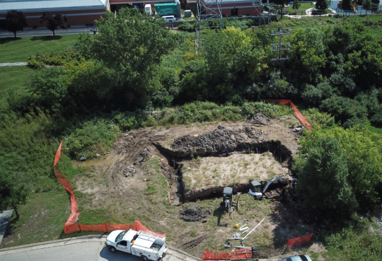 An aerial view shows the site of the future West Allis police training facility with the police station at the top of the photo.