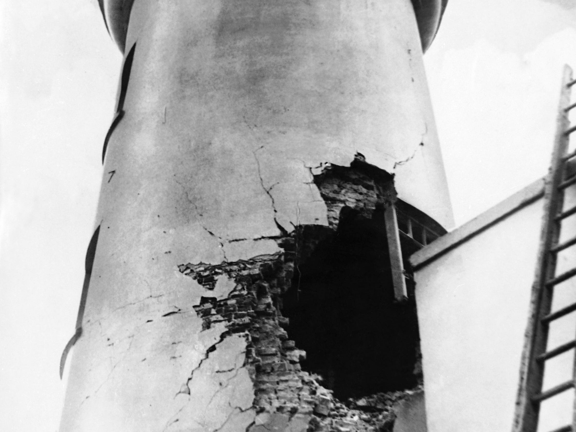 This December 1914 photo shows damage from German bombardment to the lighthouse in Scarborough northern England during World War I.
