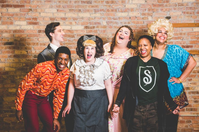 "Enjoying a photo shoot for Skylight Music Theatre's imminent production of the musical ""Hairspray"": Colin Schreier (back left, as Link), Gilbert Domally (as Seaweed), Maisie Rose (as Tracy), Tommy  Novak  (as Edna), stage director Lili-Anne  Brown and Bethany  Thomas (as Motormouth Maybelle)."