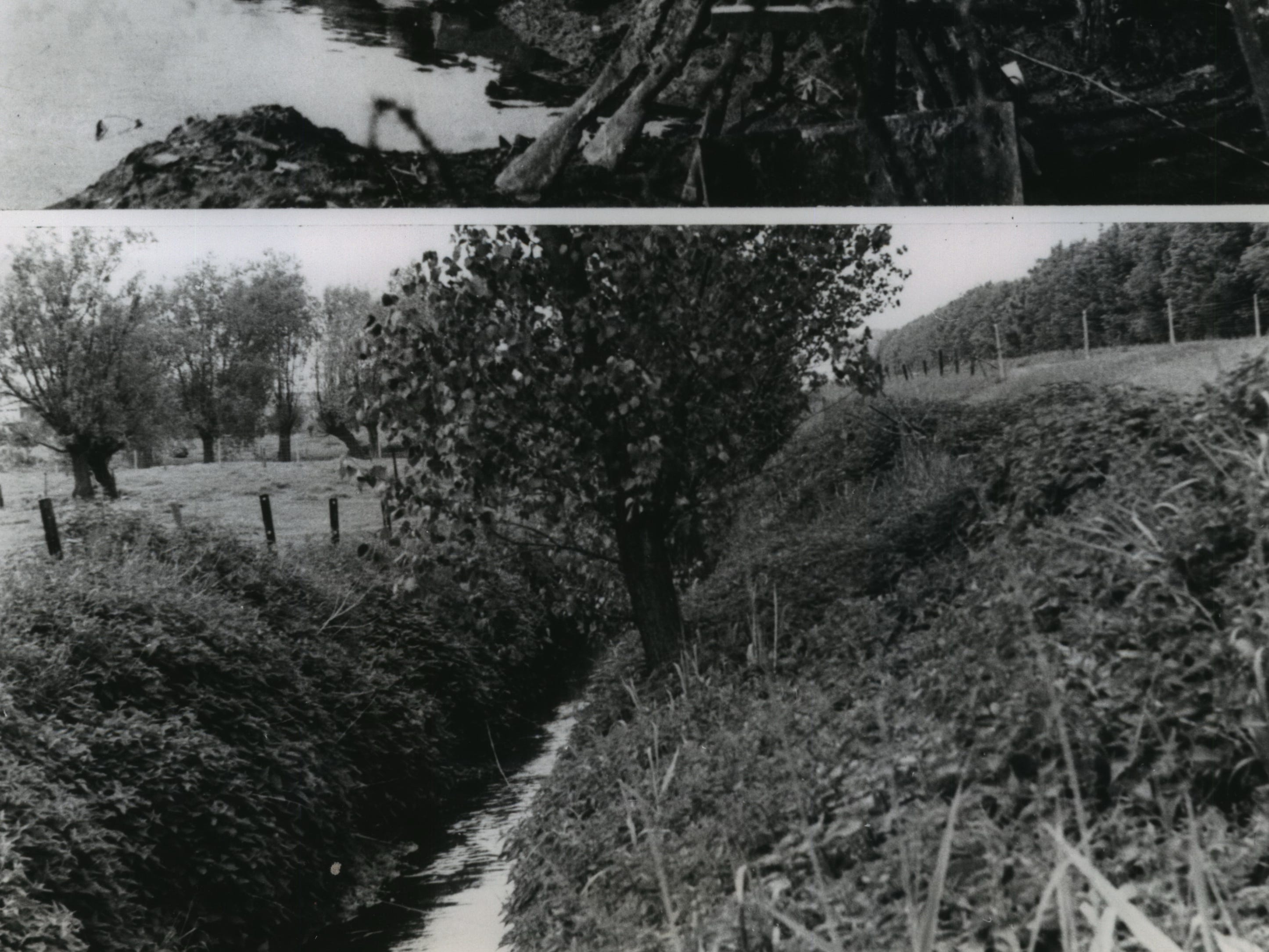 Flanders Fields are green again, instead of red with blood as they were 50 years ago. The little army of Belgium, invaded by the Germans, retreated to Flanders. It held on for four years, but half a million Allied soldiers died around Ypres. Top: A Belgian soldier stands amid front line desolation at the River Yperlee near Ypres in 1917. Bottom: Fifty years and a second war after World War I, Flanders Fields lie in quiet peace on the River Yperlee near Ypres.