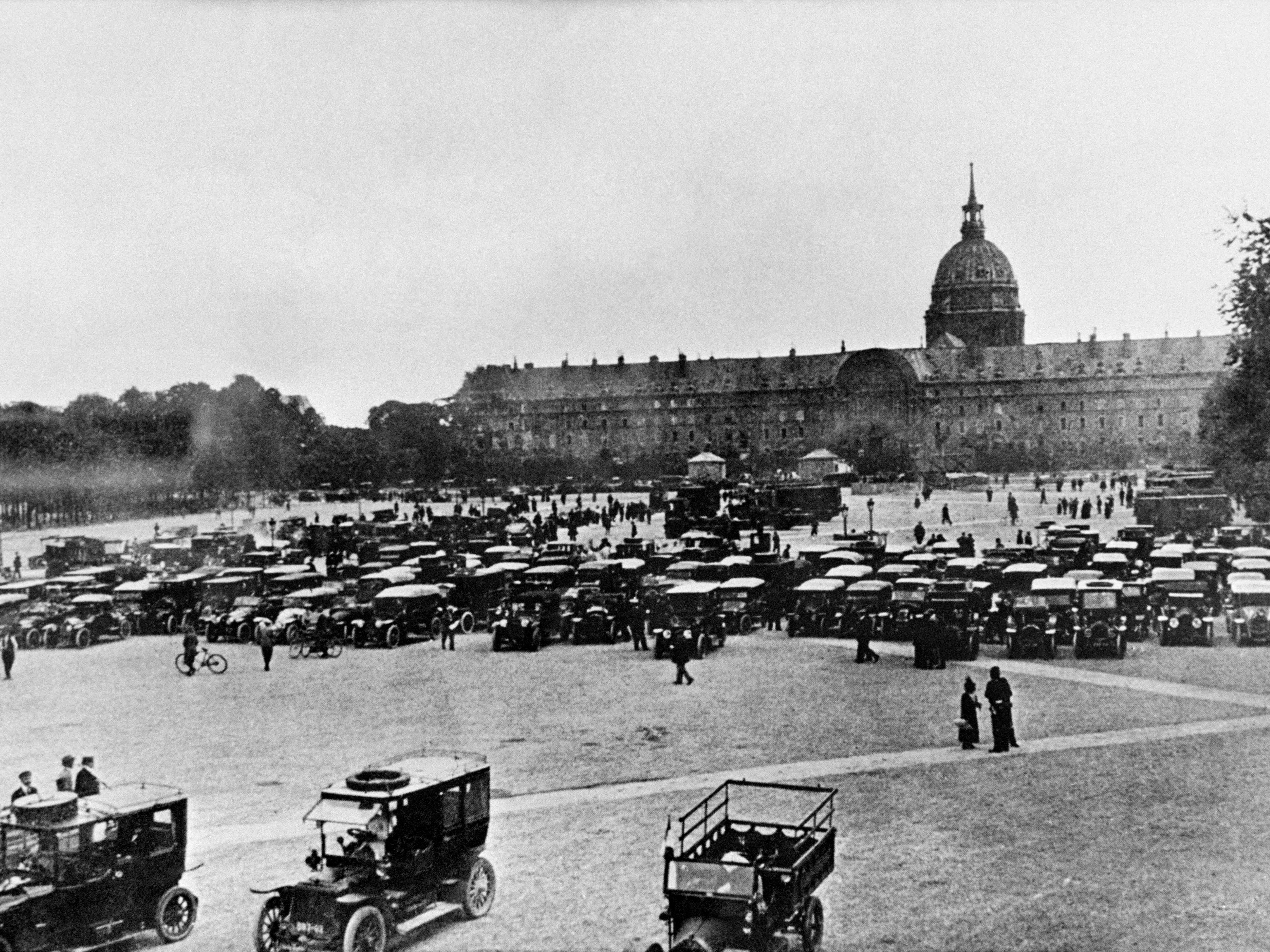 This photo taken Sept. 5, 1914, shows hundreds of Parisian taxis gathered in front of the Invalides in Paris. It is largely thanks to the Paris taxis, gathered on the orders of General Gallieni, governor of Paris, that the famous Battle of the Marne was won over the German armies.