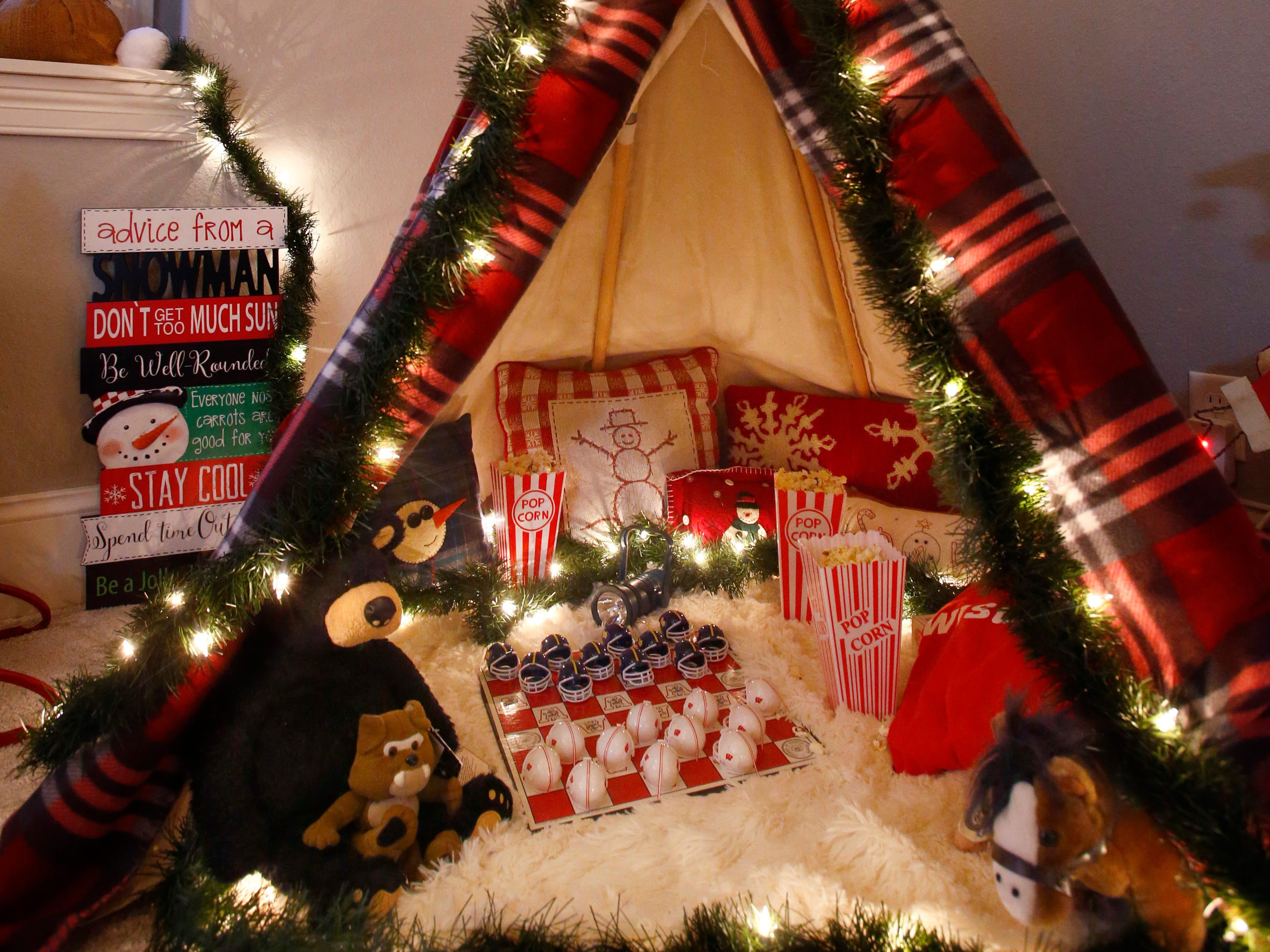 A child's teepee in a second floor bedroom at the 26th annual Christmas Fantasy House with 18 rooms decorated by more than 16 area decorators for benefit Ronald McDonald House Charities Eastern Wisconsin. The Fantasy house will be open 10 a.m. to 8 p.m. on Nov. 9, and 10 a.m. to 6 p.m. on Nov. 10 and 11. Parking and shuttle to the House is at Ridgewood Baptist Church, 2720 Lilly Road, Brookfield. Tickets are $20 at the door.
