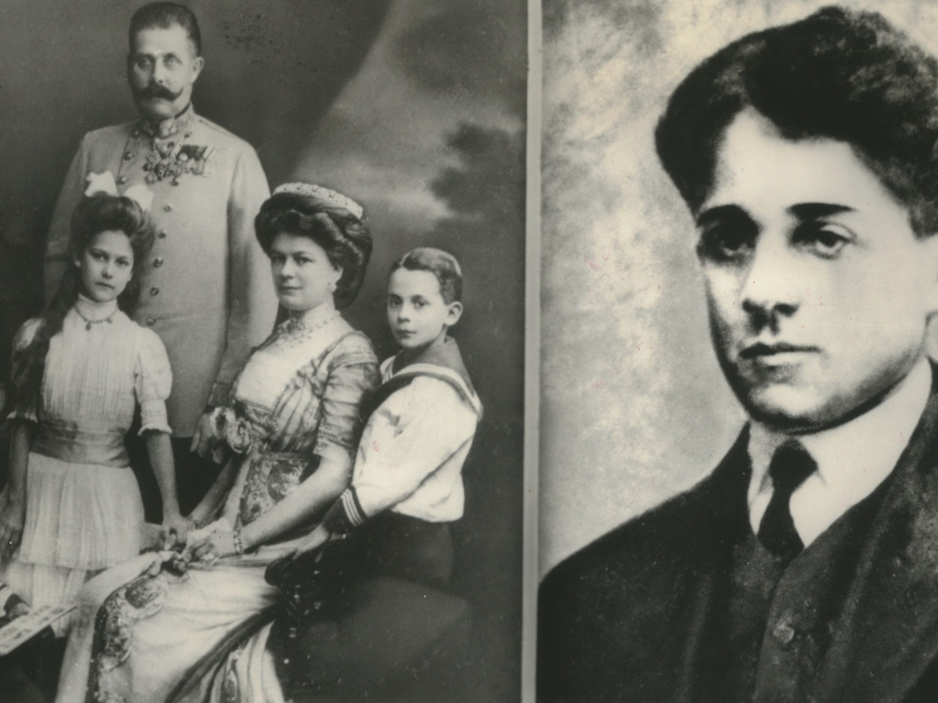Gavrilo Princip, right, a Serbian youth, assassinated Austrian Archduke Franz Ferdinand and his wife (shown at left with their children, Ernst, Sophie, and Max). The assassination took place in Sarajevo, Yugoslavia, on June 28, 1914. The photo of Princip is from a painting said to have been done not long before the assassination.