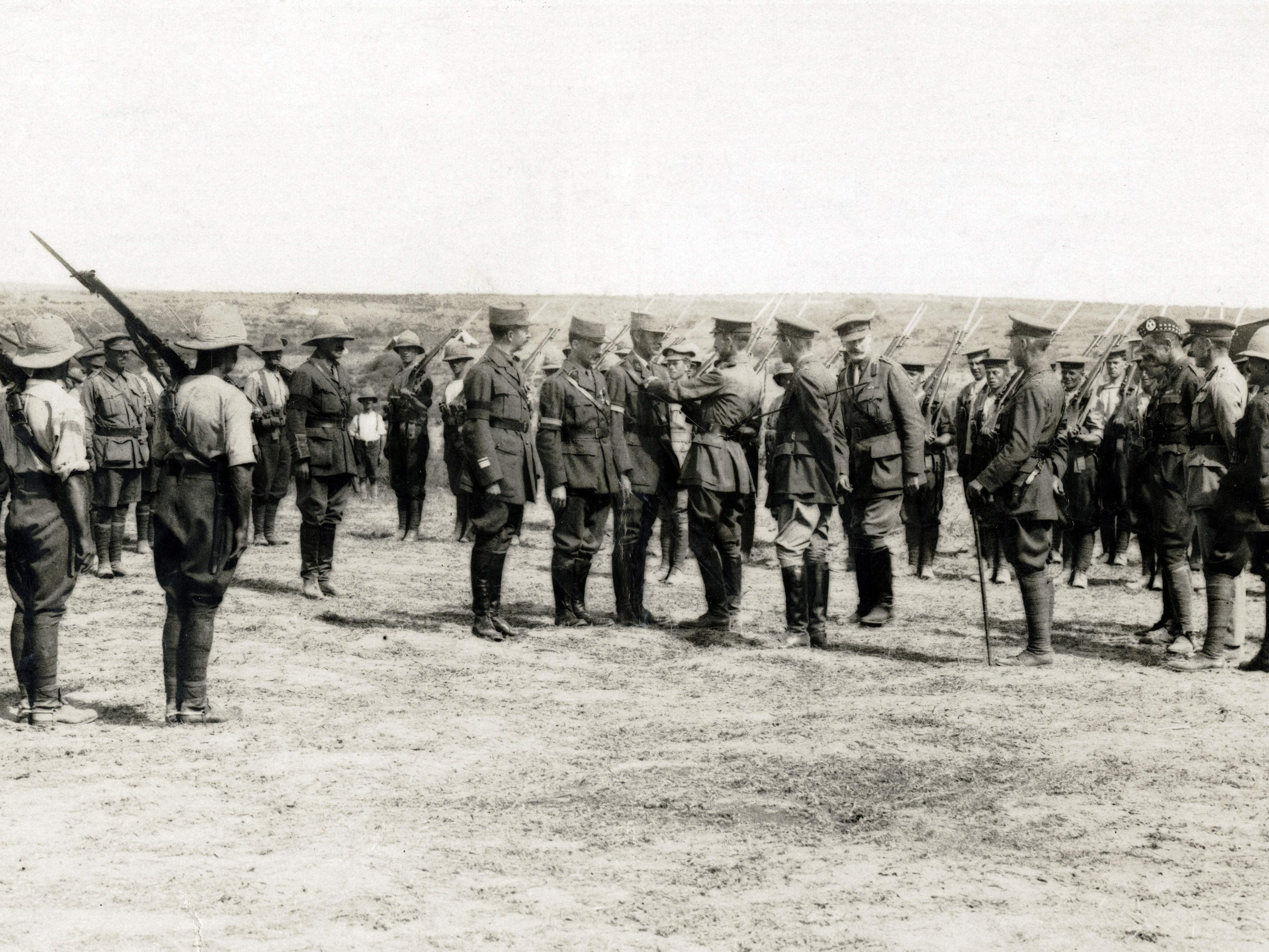 This photo taken on Jan. 1, 1915, and released by the Historial de Péronne, Museum of WWI, shows Triple Entente forces during the Dardanelles operation in World War I.  The unsuccessful eight-month operation was aimed at providing access to Russia via the Dardanelles Straits and represented a baptism by  fire for troops from Australia and New Zealand, who landed at Gallipoli and suffered heavy casualties.