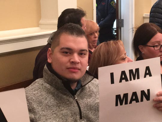 Dover resident Fernando Barrios at town meeting Nov. 8, 2018