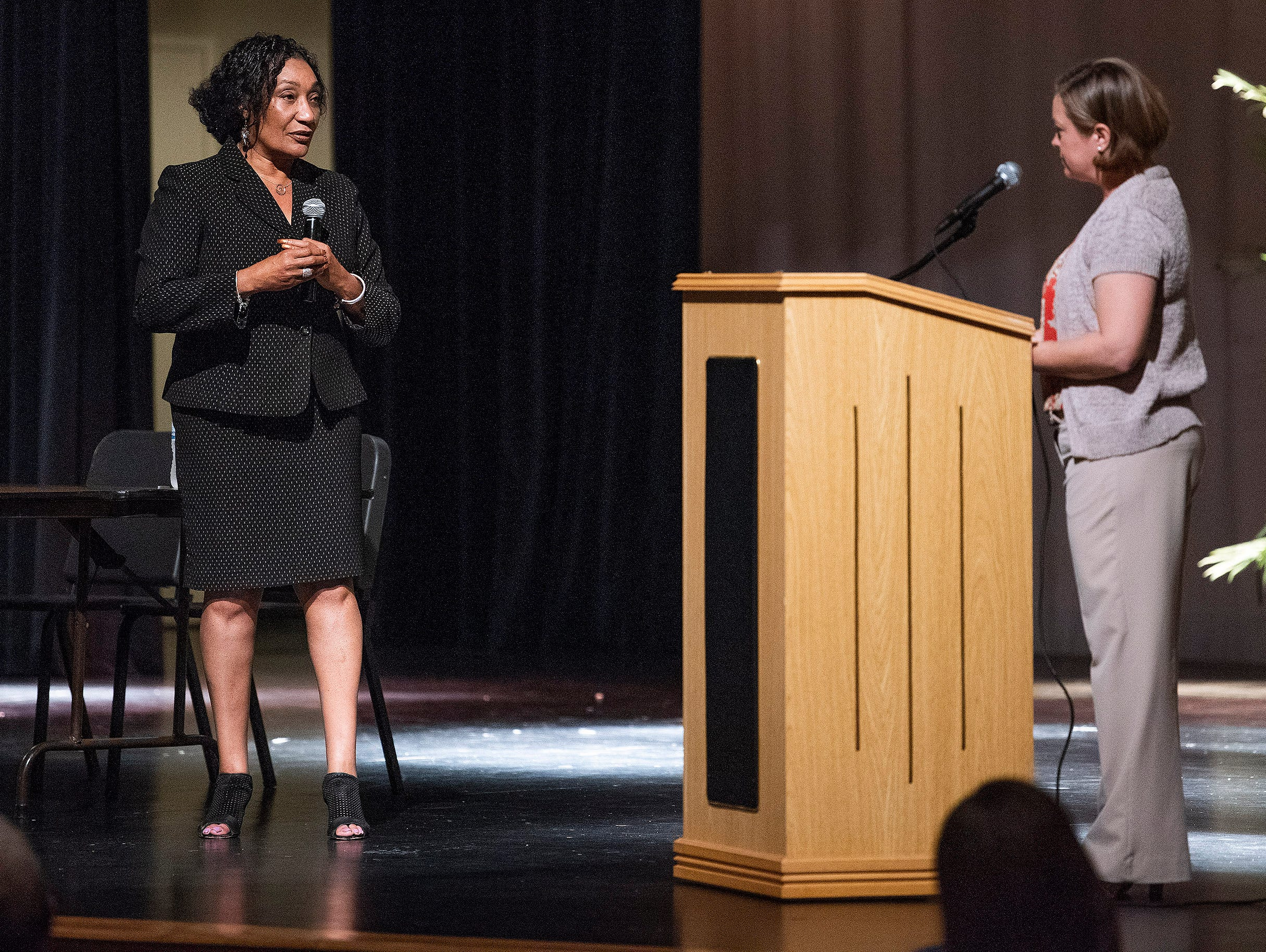 Montgomery School Superentendent Ann Roy Moore, left, and Deena Weston during a Montgomery Public Schools town hall meeting on Thursday evening November 8, 2018 at Carver High School in Montgomery, Ala.