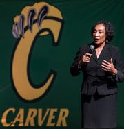 Montgomery School Superintendent Ann Roy Moore speaks during a Montgomery Public Schools town hall meeting on Thursday evening November 8, 2018 at Carver High School in Montgomery, Ala.