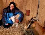 Ellie Laks, founder of The Gentle Barn, talks about one of the newest residents of the farm, a goat who lost its two back feet