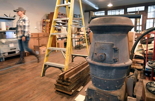A pot belly stove will be reinstalled inside Davis General Store. Norm and Teresa Gielda purchased the Davis General Storein the Boston community in Williamson County.