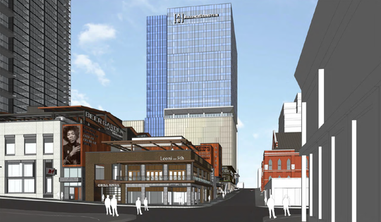 Rendering of the Fifth+Broadway development with AllianceBernstein's headquarters in the background