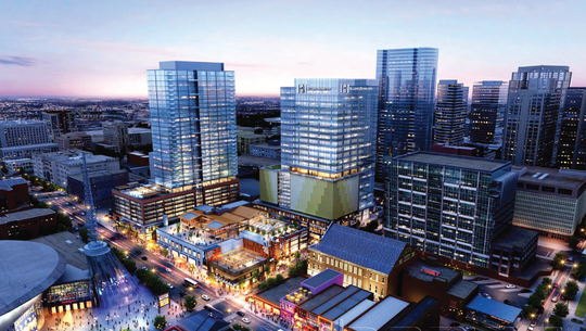 Renderings of the skyline with the coming Fifth + Broadway development