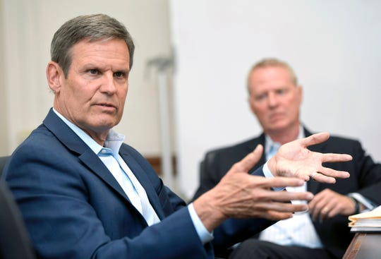 Gov.-elect Bill Lee talks his future administration at his transition office at Legislative Plaza on Nov. 9, 2018. Lee will be sworn in as Tennessee governor on Jan. 19.