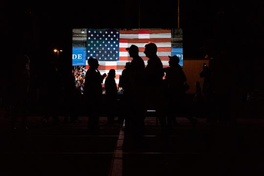 Supporters gather at a President Donald Trump rally for Florida Republican candidates on Wednesday, Oct. 31, 2018, at Hertz Arena in Estero.