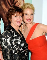 "Author Janet Evanovich, left, and actress Katherine Heigl attend the premiere of ""One For The Money,"" based on Evanovich's best-selling Stephanie Plum novels, in New York on Jan. 24, 2012."