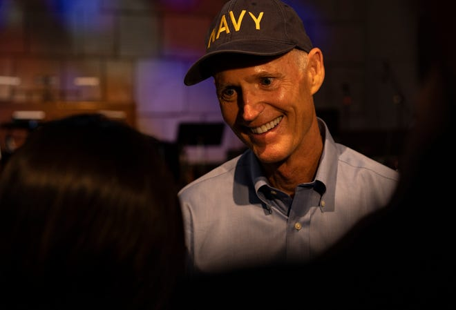 After a Veterans Day event at The Village School in Naples on Nov. 9, 2018, Gov. Rick Scott commented on his claims of fraudulent mishandling of ballots by election officials in South Florida.