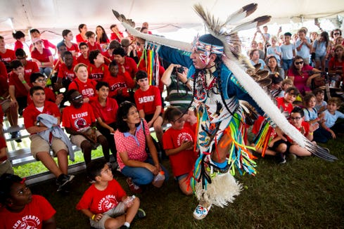 Native Pride Dancer Larry Yazzie, from the Meskwaki tribe in Iowa, demonstrates an eagle dance during the 21st annual American Indian Arts Celebration on Friday, November 2, 2018, on the grounds of the Ah-Tah-Thi-Ki museum in the Big Cypress Seminole Indian Reservation.