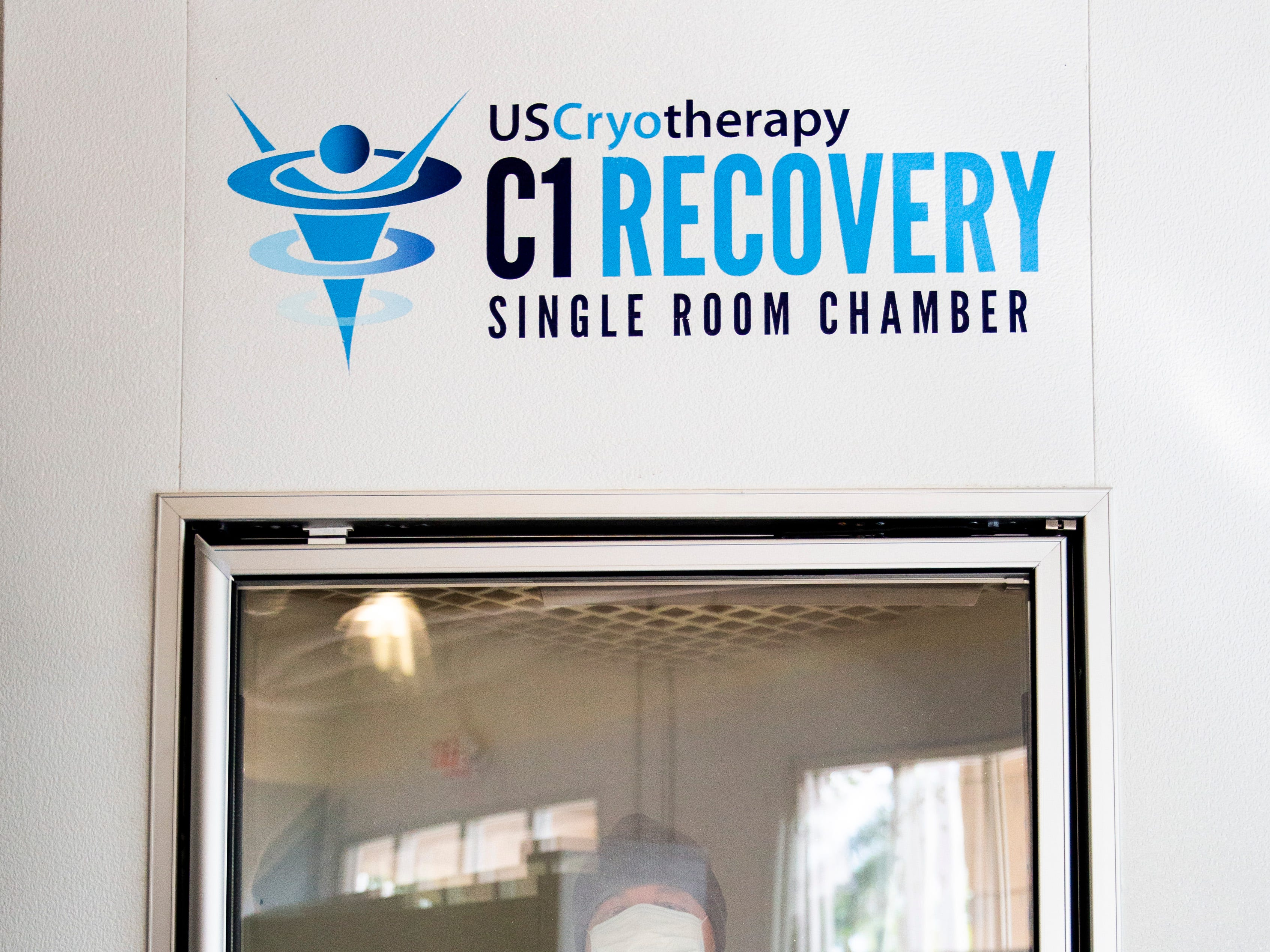 Derek Carlson receives whole body cryotherapy in the single room chamber on Thursday, Nov. 8, 2018, at US Cryotherapy in North Naples.