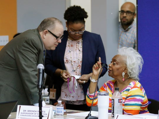 Brenda Snipes, Broward County supervisor of elections, right, speaks with officials before a canvasing board meeting Nov. 9, 2018, in Lauderhill, Fla. The deeply purple state will learn Saturday afternoon whether there will be recounts in the bitter and tight U.S. Senate race between Republican Gov. Rick Scott and incumbent Democrat Bill Nelson; and in the governor's race between former Republican U.S. Rep. Ron DeSantis and the Democratic mayor of Tallahassee, Andrew Gillum.