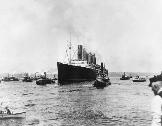 On May 1, 1915 the British cargo and passenger ship Lusitania sets out for England on its last voyage from New York City. The British ocean liner was sunk off Ireland on May 7, 1915 by a German U-Boat, killing 1,150 people, 114 of them Americans. (AP Photo, File)
