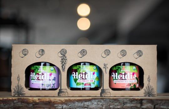 Heidi's Raspberry Farm's three-jar gift box includes an assortment of unique jams.