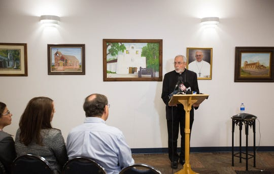 Gerald Kicanas, bishop emeritus of Tucson and the apostolic administrator  for the Diocese of Las Cruces, discusses the list of clergy connected to the Diocese of Las Cruces, who have been credibly accused of sexual abuse of minors, Thursday November 8, 2018 at the Pastoral Center of the Las Cruces Diocese.