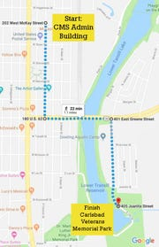 Veterans Day parade route