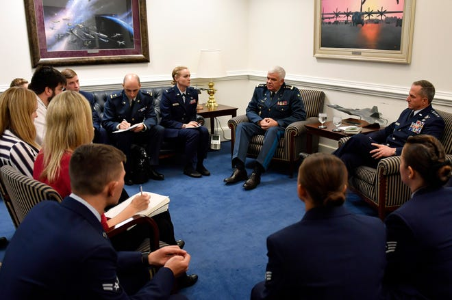 Air Force Chief of Staff Gen. David L. Goldfein and Commander of the Ukrainian Air Force General-Colonel Sergii Drozdov talk to members of the press during a press conference at the Pentagon, Arlington, Va.,  Nov. 8.