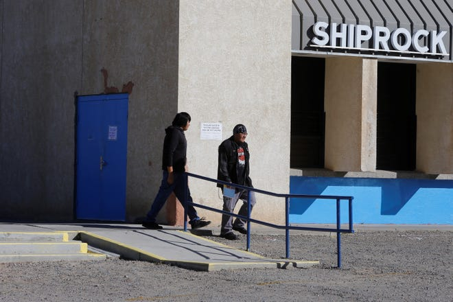 Voters leave the Shiprock Chapter house after casting ballots in the Navajo Nation general election on Nov. 6.