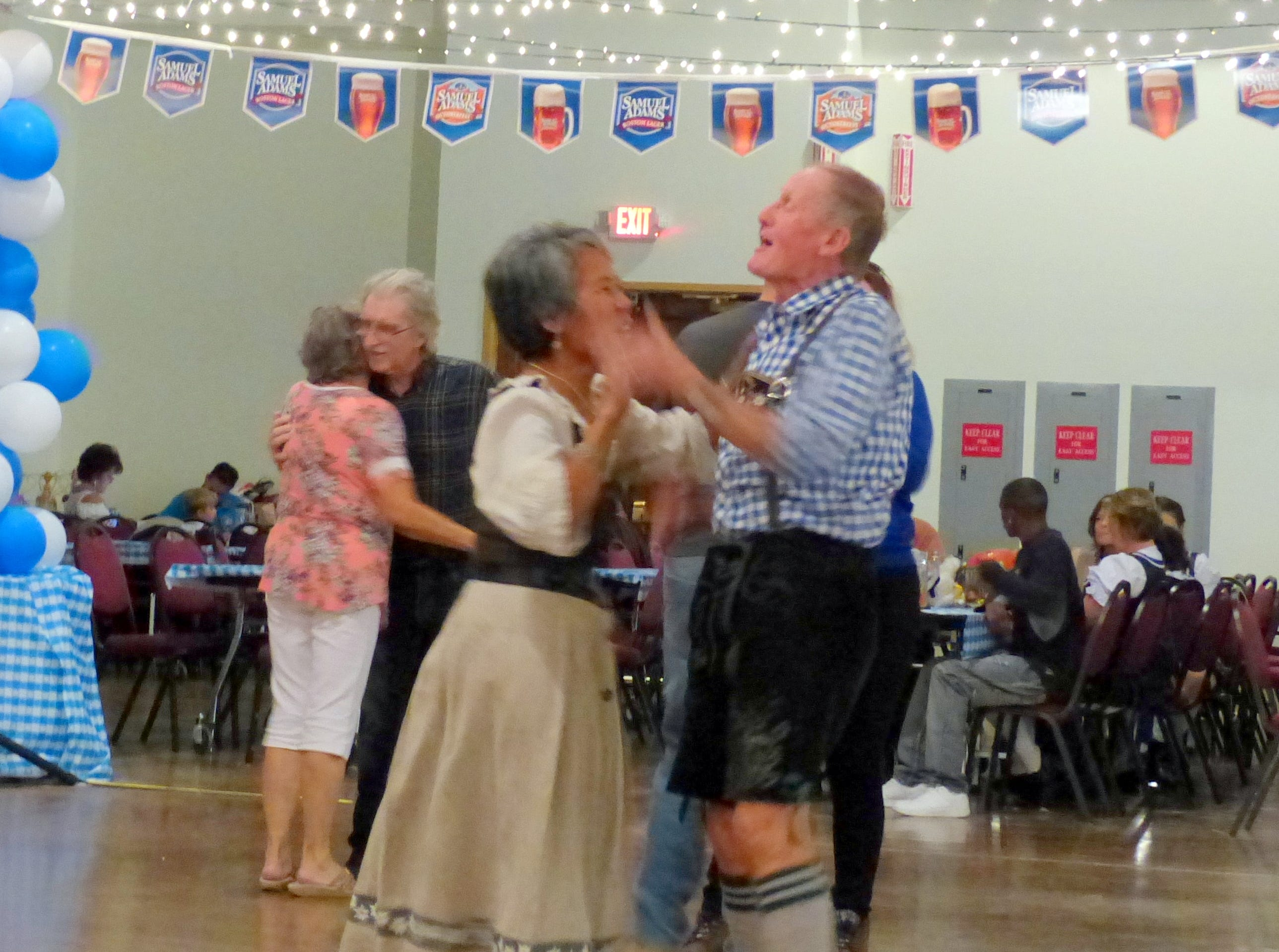 Dancing to the polka.