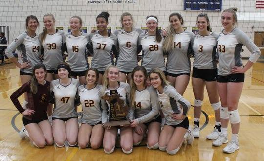 Mercy's volleyball team captured its second straight regional championship Thursday night with a three-game sweep over Marian.