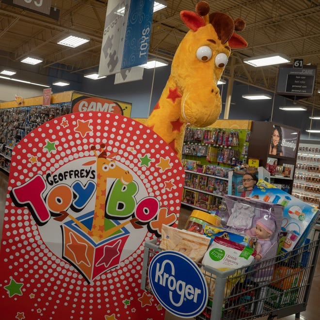 Several Kroger stores in southeast Michigan are selling Geoffrey's Toy Box merchandise once exclusive to Toys 'R' Us.